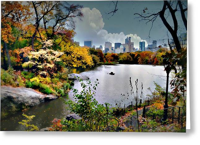 Pond In Park Greeting Cards - Central Park #2 Greeting Card by Diana Angstadt