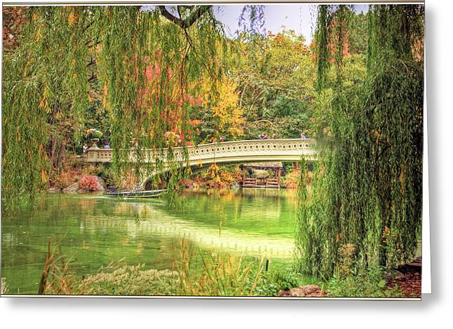Willow Lake Greeting Cards - Central Park Bow Bridge Greeting Card by Geraldine Scull