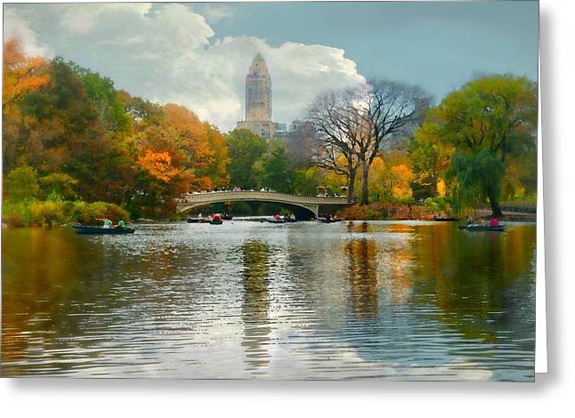 Recently Sold -  - Pond In Park Greeting Cards - Central Park #6 Greeting Card by Diana Angstadt