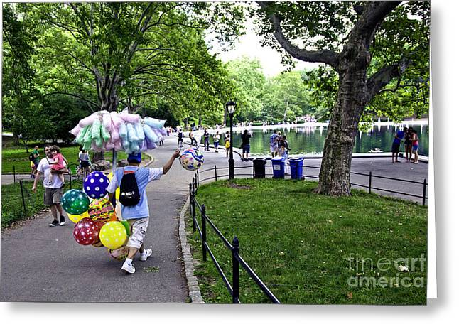 Central Park Balloon Man Greeting Card by Madeline Ellis