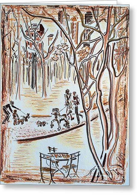 Bare Trees Drawings Greeting Cards - Central Park Greeting Card by Barbara Chase