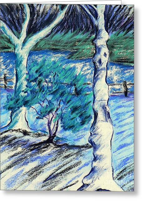 Park Scene Pastels Greeting Cards - Central Park Blues Greeting Card by Elizabeth Fontaine-Barr