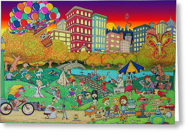 Kites Mixed Media Greeting Cards - Central Park Central Greeting Card by Paul Calabrese