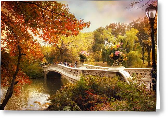 Footbridge Greeting Cards - Central Park Crossing Greeting Card by Jessica Jenney