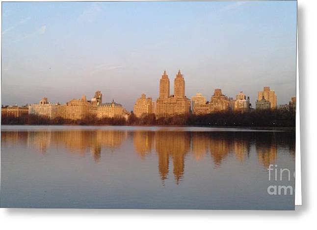 Jacqueline Kennedy Greeting Cards - Central Park Daybreak Greeting Card by Michelle Welles