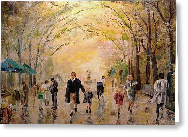 Central Park Early Spring Greeting Card by Alan Lakin