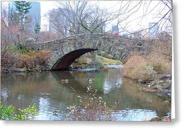Pond In Park Greeting Cards - Central Park Footbridge Greeting Card by Doug Swanson