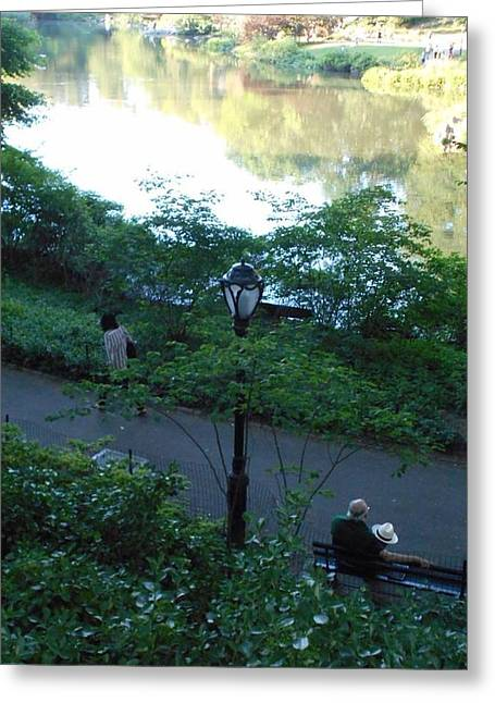 Old Man With Hat Greeting Cards - Central Park Gent Greeting Card by Carolyn Quinn
