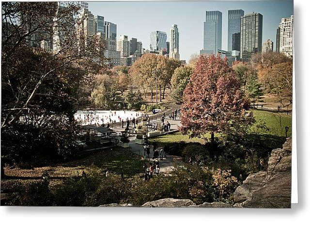 Wollman Rink Greeting Cards - Central Park Ice Rink Greeting Card by Newyorkcitypics Bring your memories home