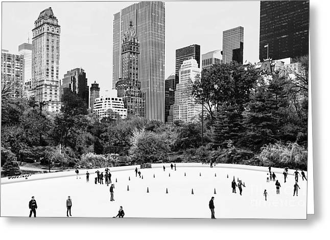 Wollman Rink Greeting Cards - Central Park Ice Skating Black and White Greeting Card by Regina Geoghan
