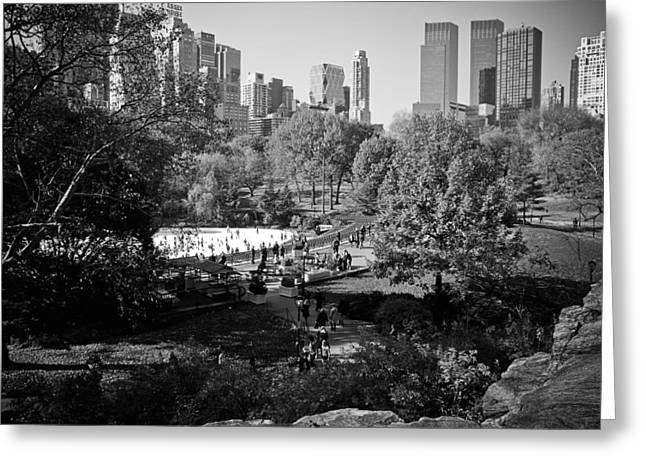 Wollman Rink Greeting Cards - Central Park Ice Skating Greeting Card by Newyorkcitypics Bring your memories home
