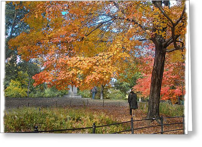 Lovers Of The Sun Greeting Cards - Central Park in Autumn 4 Greeting Card by Muriel Levison Goodwin