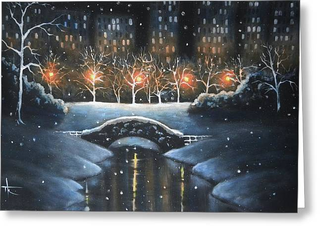 Nyc Posters Paintings Greeting Cards - Central Park in colour Greeting Card by Thomas Kolendra