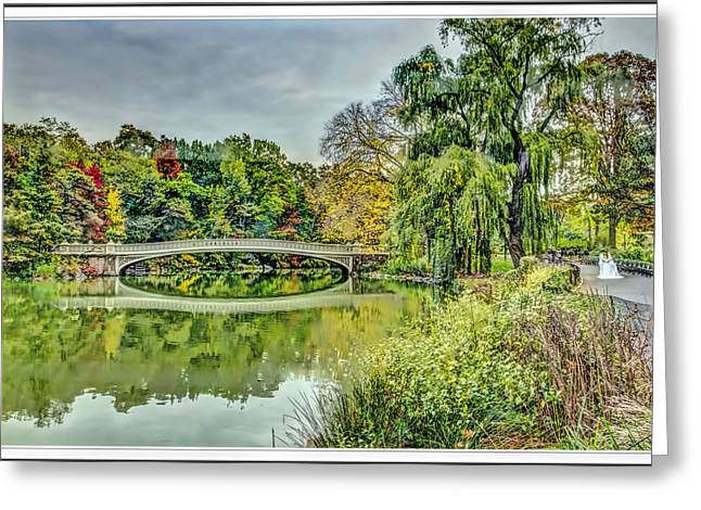 City Scapes Greeting Cards Greeting Cards - Central Park in Fall bridge bridal Greeting Card by Geraldine Scull