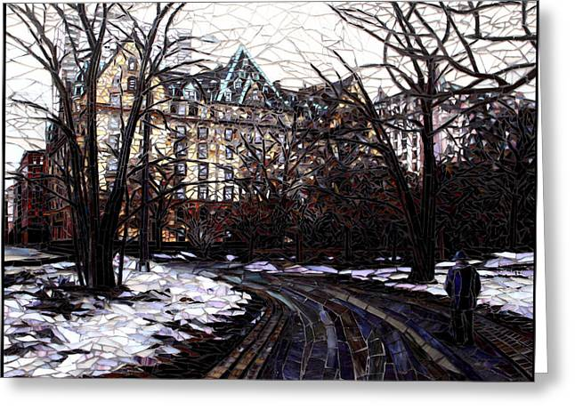 New York City Glass Greeting Cards - Central Park in the Snow Greeting Card by Sandra Bryant