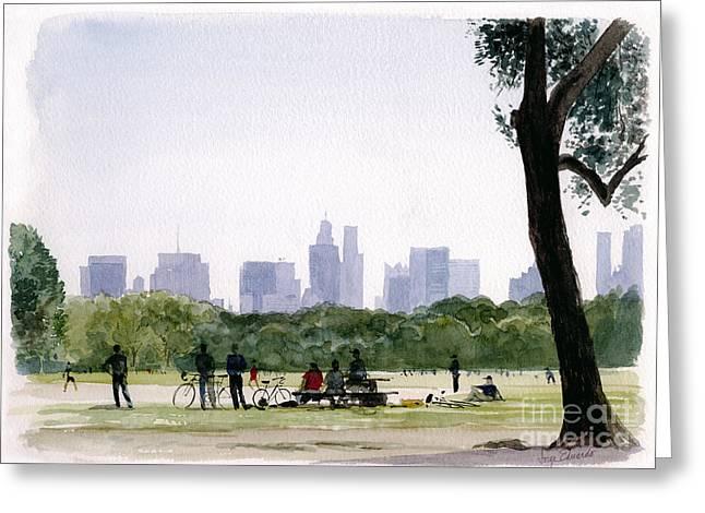New York Baseball Parks Paintings Greeting Cards - Central Park Greeting Card by Jorge Eduardo