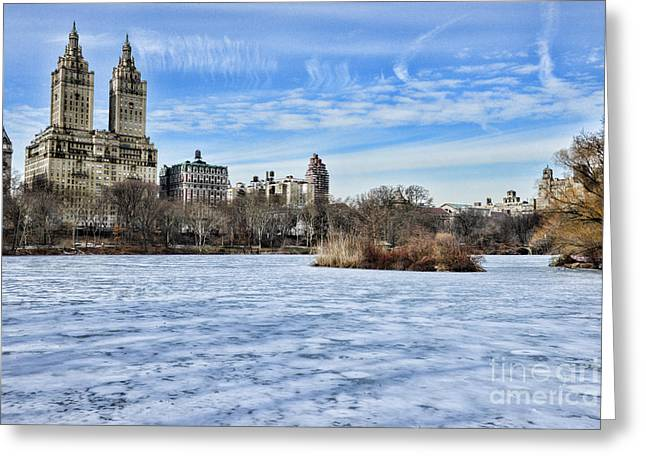 Central Park West Greeting Cards - Central Park Lake Looking West Greeting Card by Paul Ward