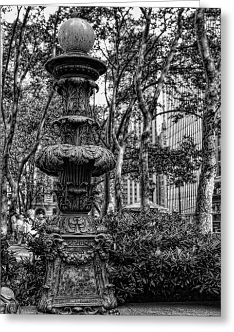 Central Greeting Cards - Central Park Lamp Post Greeting Card by Lee Dos Santos