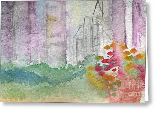 City Buildings Mixed Media Greeting Cards - Central Park  Greeting Card by Linda Woods