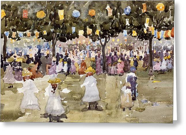 Sketch Greeting Cards - Central Park  New York City  July Fourth  Greeting Card by Maurice Prendergast