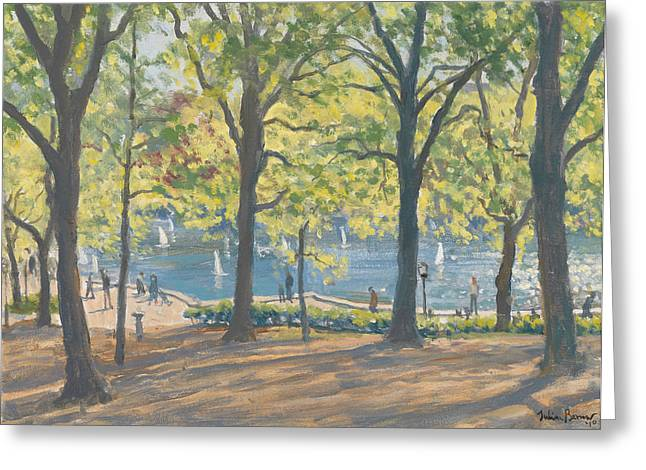 Green Leafs Greeting Cards - Central Park New York Greeting Card by Julian Barrow