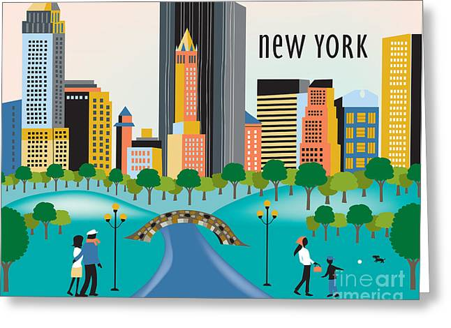 Times Square Digital Art Greeting Cards - Central Park New York Greeting Card by Karen Young