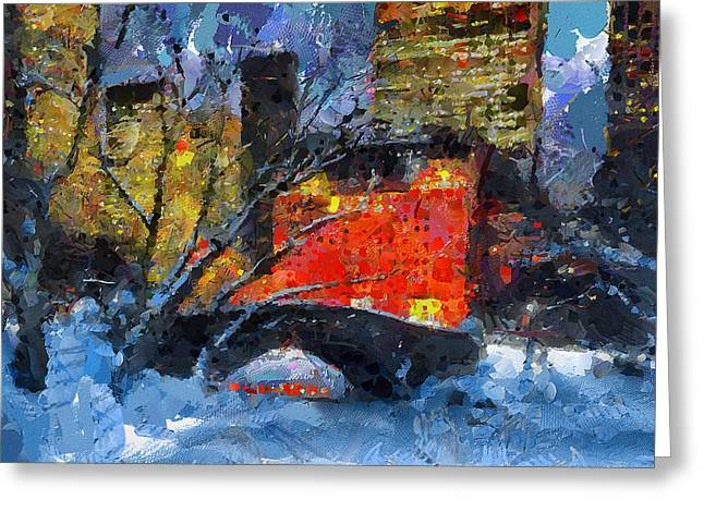 Live Art Greeting Cards - Central Park NYC at Snow Greeting Card by Yury Malkov