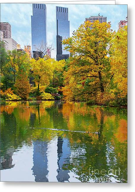 Central Park Pond Autumn Reflections Greeting Card by Regina Geoghan