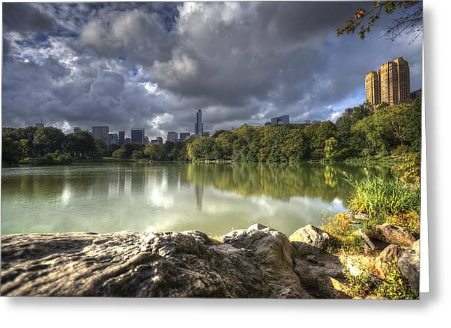 Central Park Reflections In Green Greeting Card by Vicki Jauron