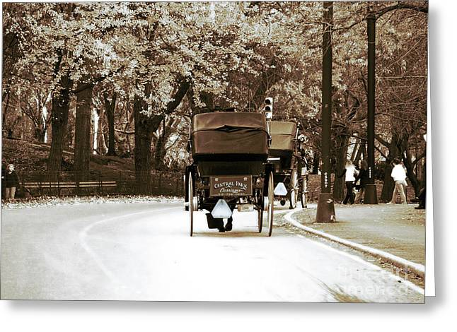 Central Park Ride Greeting Card by John Rizzuto