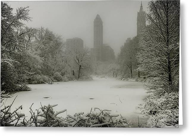 Snowstorm Digital Art Greeting Cards - Central Park SnowStorm Greeting Card by Chris Lord
