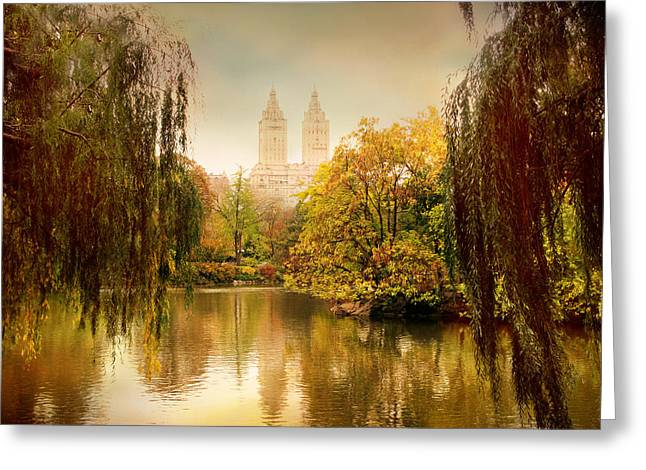 Willow Lake Greeting Cards - Central Park Splendor Greeting Card by Jessica Jenney