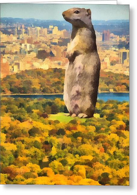 Central Mixed Media Greeting Cards - Central Park Squirrel Greeting Card by Dan Sproul
