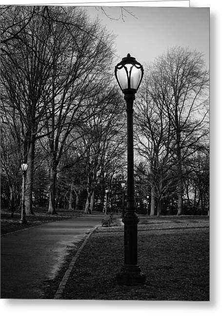 New York Evening Post Greeting Cards - Central Park street lamps in black and white Greeting Card by Marianne Campolongo