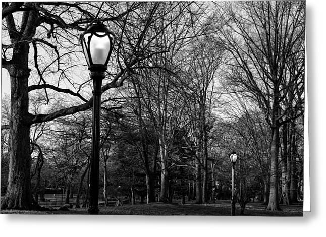 New York Evening Post Greeting Cards - Central Park streetlamps in black and white 2 Greeting Card by Marianne Campolongo