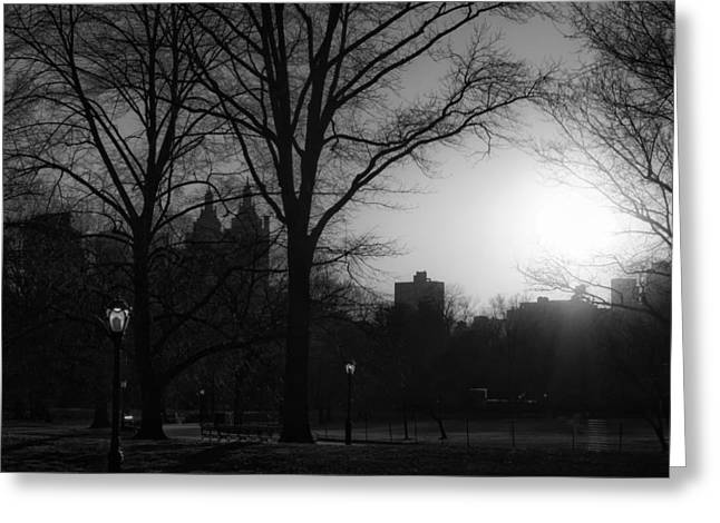 Recently Sold -  - Streetlight Greeting Cards - Central Park Sunset in Black and White 3 Greeting Card by Marianne Campolongo