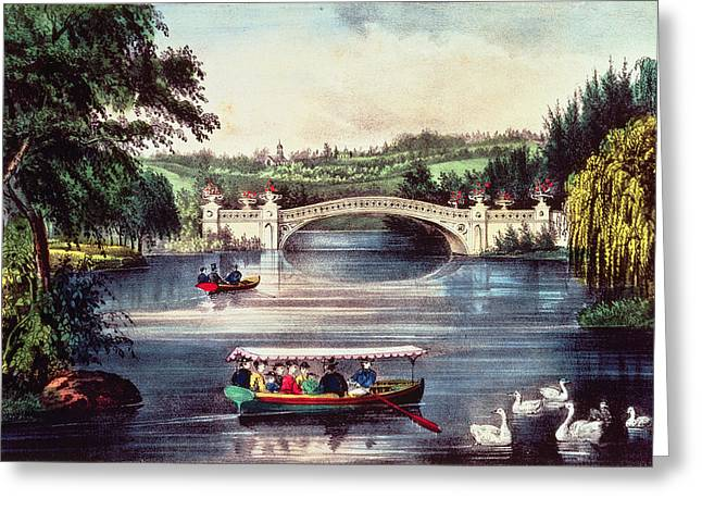 Swans... Greeting Cards - Central Park - The Bridge Colour Litho Greeting Card by N. Currier