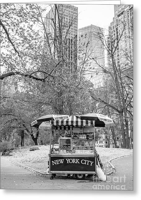 Hot Dog Greeting Cards - Central Park Vendor Greeting Card by Edward Fielding