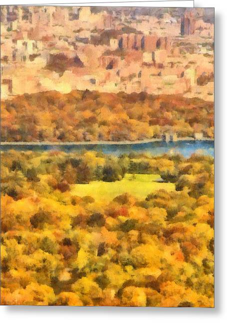 New Mind Greeting Cards - Central Park Watercolor Greeting Card by Dan Sproul