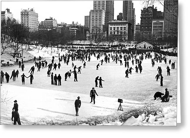 Central Park Winter Carnival Greeting Card by Underwood Archives