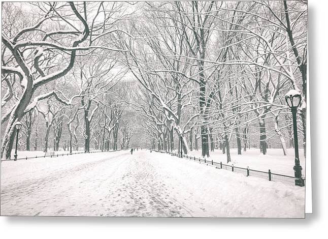 Central Park Winter - Poet's Walk in the Snow - New York City Greeting Card by Vivienne Gucwa