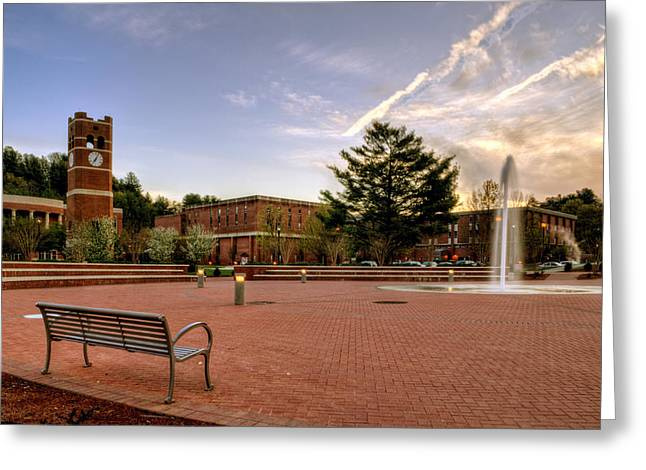 Wcu Greeting Cards - Central Plaza Bench at WCU Greeting Card by Greg Mimbs