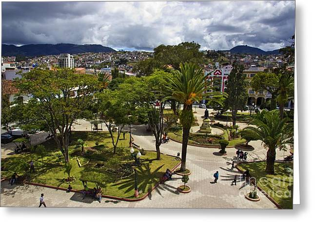 Al Central Greeting Cards - Central Square In Loja Ecuador Greeting Card by Al Bourassa