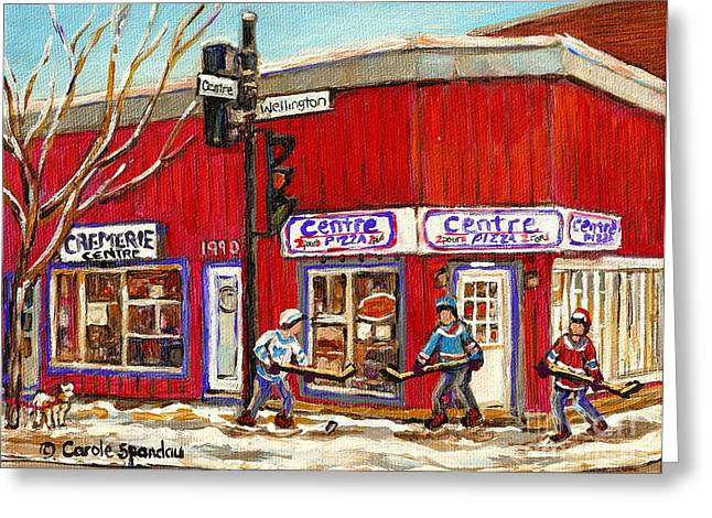 Verdun Pizza Greeting Cards - Centre Pizza Montreal Paintings Pointe St Charles Verdun Hockey Art Originals Commissions Prints  Greeting Card by Carole Spandau