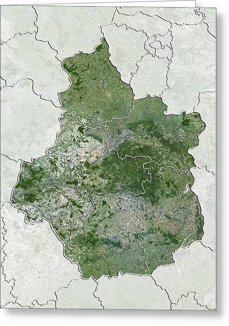 Eure Greeting Cards - Centre region, France, satellite image Greeting Card by Science Photo Library