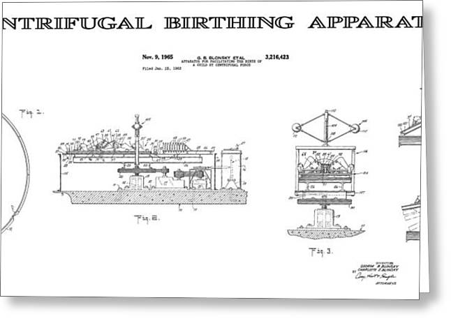 Historical Blueprint Greeting Cards - Centrifugal Birthing Apparatus 4 Patent Art Greeting Card by Daniel Hagerman
