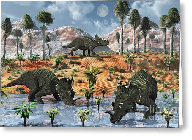 Stream Digital Art Greeting Cards - Centrosaurus Dinosaurs At A Watering Greeting Card by Mark Stevenson