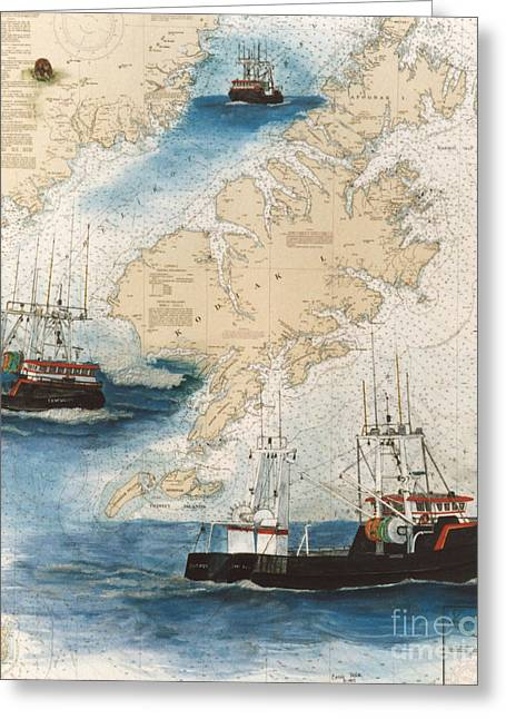 North Sea Greeting Cards - CENTURION Trawl Fishing Boat Nautical Chart Art Greeting Card by Cathy Peek