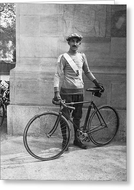 One Mature Man Only Greeting Cards - Century Bicycle Club Member Greeting Card by Underwood Archives