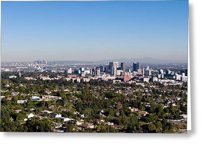 Los Angeles Freeways Greeting Cards - Century City, Wilshire Corridor Greeting Card by Panoramic Images